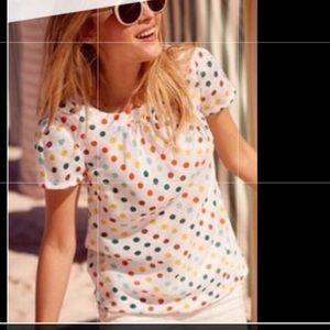 Boden linen multi color polka dot top sz 6